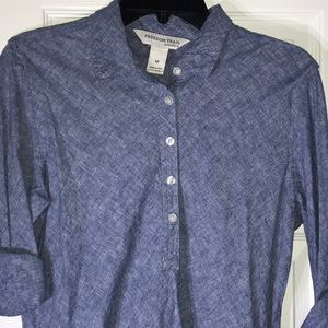 Freedom Trail M blue chambray shirt dress